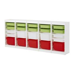 "TROFAST storage combination, multicolor, white Length: 90 1/2 "" Depth: 11 3/4 "" Height: 37 "" Length: 230 cm Depth: 30 cm Height: 94 cm"