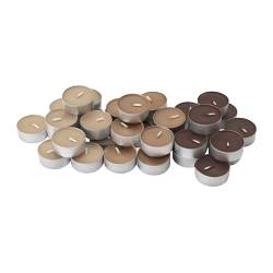 "TINDRA scented tealight, brown Diameter: 1 ½ "" Burning time: 3.5 hr Package quantity: 36 pack Diameter: 38 mm Burning time: 3.5 hr Package quantity: 36 pack"