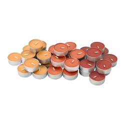 "TINDRA scented tealight, orange Diameter: 1 ½ "" Burning time: 3.5 hr Package quantity: 36 pack Diameter: 38 mm Burning time: 3.5 hr Package quantity: 36 pack"