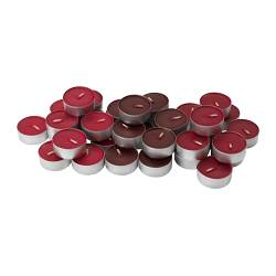 "TINDRA scented tealight, red Diameter: 1 ½ "" Burning time: 3.5 hr Package quantity: 36 pack Diameter: 38 mm Burning time: 3.5 hr Package quantity: 36 pack"
