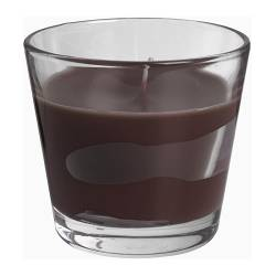 "TINDRA scented candle in glass, brown Height: 3 ¼ "" Burning time: 30 hr Height: 8 cm Burning time: 30 hr"
