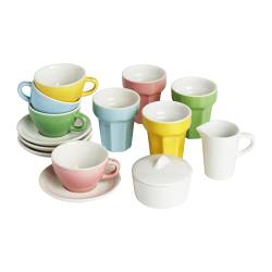 DUKTIG 10-piece coffee/tea set, multicolor
