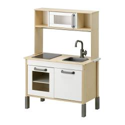 DUKTIG mini-kitchen, white, birch plywood Width: 72 cm Depth: 40 cm Height: 108 cm