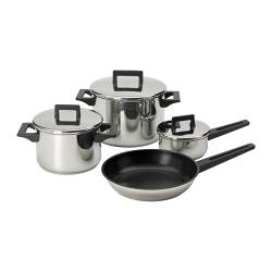 SNITSIG 7-piece cookware set, stainless steel