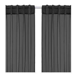 SARITA sheer curtains, 1 pair, black Length: 300 cm Width: 145 cm Weight: 0.30 kg