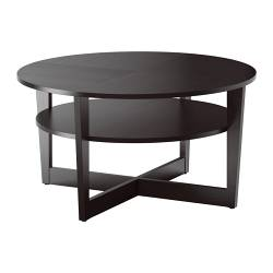 VEJMON coffee table, black-brown Diameter: 90 cm Height: 47 cm