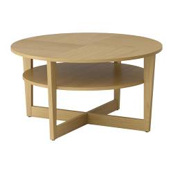 VEJMON coffee table, oak veneer Diameter: 90 cm Height: 47 cm