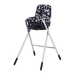 "SPOLING highchair with safety belt, white, black Width: 20 7/8 "" Depth: 24 3/4 "" Height: 36 1/4 "" Width: 53 cm Depth: 63 cm Height: 92 cm"
