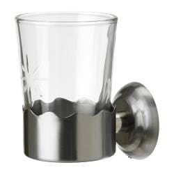 LILLHOLMEN toothbrush mug with holder, glass Diameter: 8.2 cm Height: 13 cm