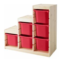 TROFAST storage combination with boxes, red, pine
