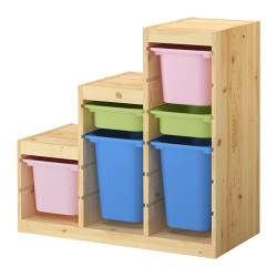 TROFAST storage combination with boxes, multicolour, pine Width: 94 cm Depth: 44 cm Height: 91 cm