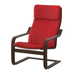 POÄNG armchair, Alme medium red, brown Width: 68 cm Depth: 82 cm Height: 100 cm