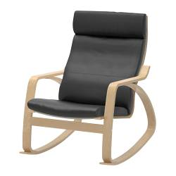 POÄNG rocking chair, birch veneer, Glose Robust black