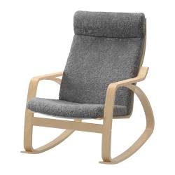 POÄNG rocking-chair, Lockarp grey, birch veneer Width: 68 cm Depth: 94 cm Height: 95 cm