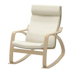 POÄNG rocking-chair, birch veneer, Glose eggshell