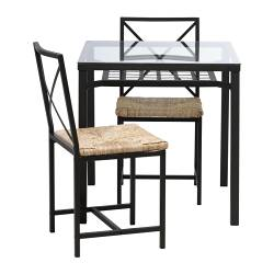GRANÅS table and 2 chairs, glass, black