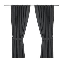 RITVA curtains with tie-backs, 1 pair, grey Length: 300 cm Width: 145 cm Weight: 2.33 kg