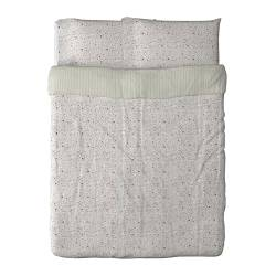 "ALVINE LJUV duvet cover and pillowcase(s), multicolor Duvet cover length: 86 "" Duvet cover width: 86 "" Pillowcase length: 20 "" Duvet cover length: 218 cm Duvet cover width: 218 cm Pillowcase length: 51 cm"