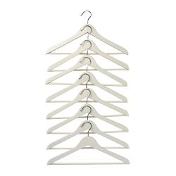 BUMERANG curved clothes hanger, white Width: 43 cm Thickness: 14 mm Package quantity: 8 pack