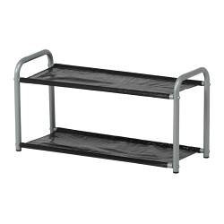 LUSTIFIK hat/shoe rack, silver-colour/black Width: 60 cm Depth: 24 cm Height: 30 cm