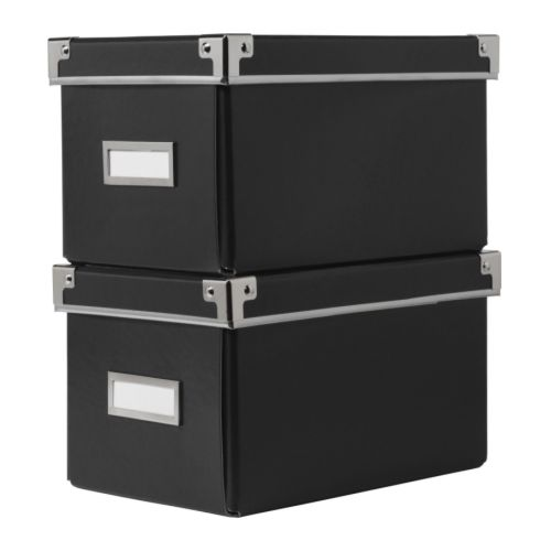 2 x ikea kassett billy bookcase cd storage box black ebay. Black Bedroom Furniture Sets. Home Design Ideas