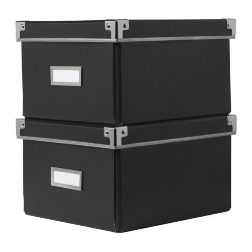 2x ikea kassett billy bookcase dvd storage box black ebay. Black Bedroom Furniture Sets. Home Design Ideas