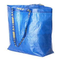 "FRAKTA shopping bag, medium, blue Length: 17 ¾ "" Depth: 7 "" Height: 17 ¾ "" Length: 45 cm Depth: 18 cm Height: 45 cm"