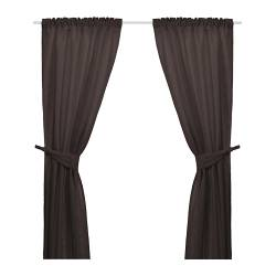 ANITA curtains with tie-backs, 1 pair, brown Length: 300 cm Width: 145 cm Weight: 2.77 kg