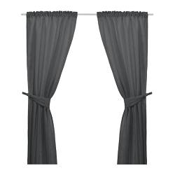 ANITA curtains with tie-backs, 1 pair, dark grey Length: 300 cm Width: 145 cm Weight: 2.77 kg