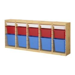"TROFAST storage combination, multicolor, pine Length: 86 5/8 "" Depth: 11 3/4 "" Height: 35 7/8 "" Length: 220 cm Depth: 30 cm Height: 91 cm"
