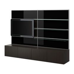 BESTÅ/FRAMSTÅ TV/storage combination, glass black, black-brown Width: 240 cm Depth: 40 cm Height: 166 cm