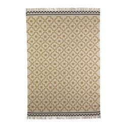 "ALVINE RUTA rug, flatwoven, white/yellow handmade white/yellow Length: 7 ' 10 "" Width: 5 ' 7 "" Thickness: ¼ "" Length: 240 cm Width: 170 cm Thickness: 4 mm"