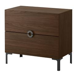 "ENGAN chest with 2 drawers, walnut effect Width: 30 3/4 "" Depth: 16 1/8 "" Height: 27 1/2 "" Width: 78 cm Depth: 41 cm Height: 70 cm"