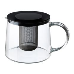"RIKLIG teapot, glass Height: 5 "" Volume: 2 qt Height: 13 cm Volume: 1.5 l"