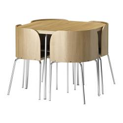FUSION table and 4 chairs Width: 90 cm Height: 75 cm Total height: 76 cm