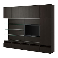 BESTÅ/FRAMSTÅ TV/storage combination, black-brown Width: 300 cm Depth: 40 cm Height: 230 cm