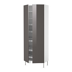 FAKTUM high cabinet with drawers/shelves, Abstrakt grey Width: 80 cm Depth: 37 cm Height: 211 cm