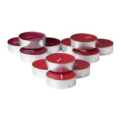 TINDRA scented candle in a metal cup, red Diameter: 59 mm Burning time: 9 hr Package quantity: 12 pack