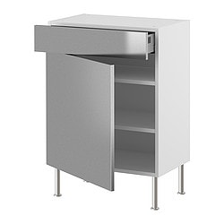 "AKURUM base cabinet w shelf/drawer/door, Rubrik stainless steel, white Width: 14 7/8 "" Depth: 12 1/4 "" Width: 38 cm Depth: 31 cm"