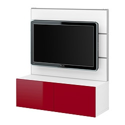 BESTÅ/FRAMSTÅ TV/storage combination, high-gloss red, white Width: 120 cm Depth: 40 cm Height: 134 cm