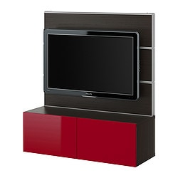 BESTÅ/FRAMSTÅ TV/storage combination, high-gloss red, black-brown Width: 120 cm Depth: 40 cm Height: 134 cm