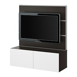 BESTÅ/FRAMSTÅ TV/storage combination, white, black-brown Width: 120 cm Depth: 40 cm Height: 134 cm