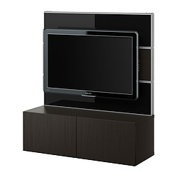 BESTÅ/FRAMSTÅ TV/storage combination, glass, black-brown Width: 120 cm Depth: 40 cm Height: 134 cm