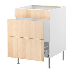 FAKTUM base cab f sink/waste sorting, Nexus birch veneer Width: 59.8 cm Depth: 60.0 cm Height: 86.0 cm