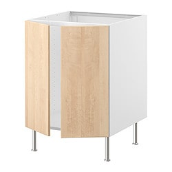 FAKTUM base cabinet for sink + 2 doors, Nexus birch veneer Width: 59.8 cm Depth: 60.0 cm Height: 86.0 cm