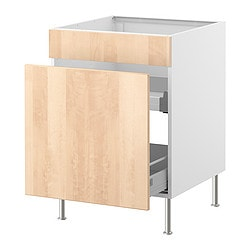 FAKTUM base cb f sink ut w drawers/1 door, Nexus birch veneer Width: 59.8 cm Depth: 60.0 cm Height: 86.0 cm