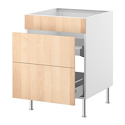 FAKTUM base cb f snk ut w drawers/2 fronts, Nexus birch veneer Width: 59.8 cm Depth: 60.0 cm Height: 86.0 cm