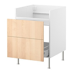 FAKTUM base cab w 1 drawer for DOMSJÖ sink, Nexus birch veneer Width: 59.8 cm Depth: 60.0 cm Height: 86.0 cm