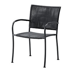 LÄCKÖ chair with armrests, outdoor, grey Width: 56 cm Depth: 60 cm Height: 82 cm