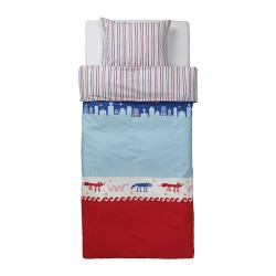 "BARNSLIG NATTLIV duvet cover and pillowcase(s), blue/red Duvet cover length: 86 "" Duvet cover width: 64 "" Pillowcase length: 20 "" Duvet cover length: 218 cm Duvet cover width: 162 cm Pillowcase length: 51 cm"